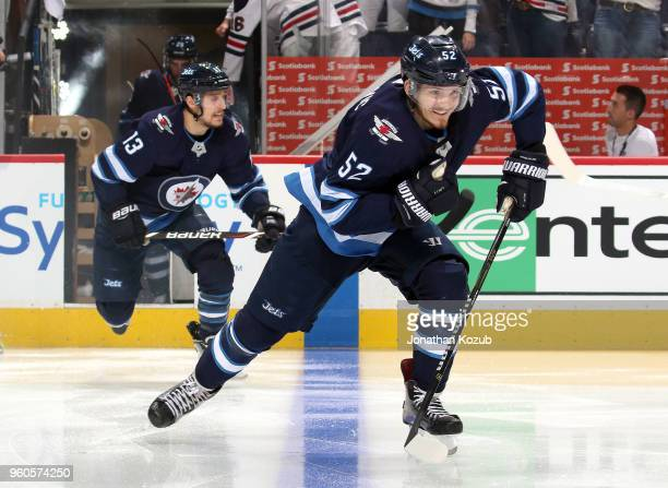Jack Roslovic of the Winnipeg Jets hits the ice prior to puck drop against the Vegas Golden Knights in Game Five of the Western Conference Final...