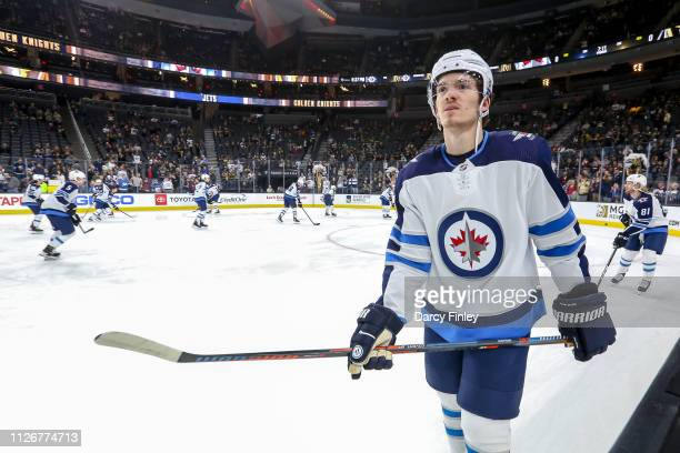 Jack Roslovic of the Winnipeg Jets takes part in the pregame warm up prior to NHL action against the Vegas Golden Knights at TMobile Arena on...