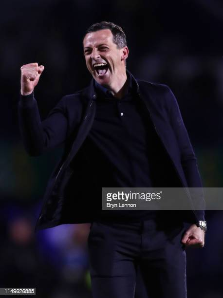 Jack Ross manager of Sunderland celebrates after the Sky Bet League One PlayOff Second Leg match between Portsmouth and Sunderland at Fratton Park on...
