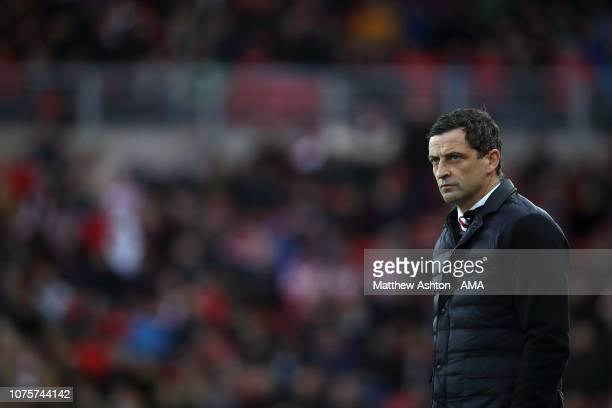 Jack Ross the head coach / manager of Sunderland during the Sky Bet League One match between Sunderland and Shrewsbury Town at Stadium of Light on...