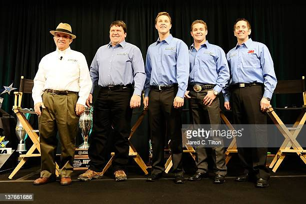 Jack Roush owner of Roush Fenway Racing Robbie Reiser general manager of Roush Fenway Racing Trevor Bayne driver of the Motorcraft Ford Ricky...
