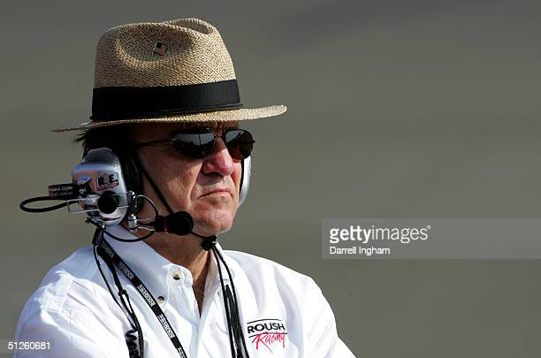 Jack Roush team owner for Roush Racing Ford looks on during practice for the NASCAR Nextel Cup Series Pop Secret 500 on September 3 2004 at...