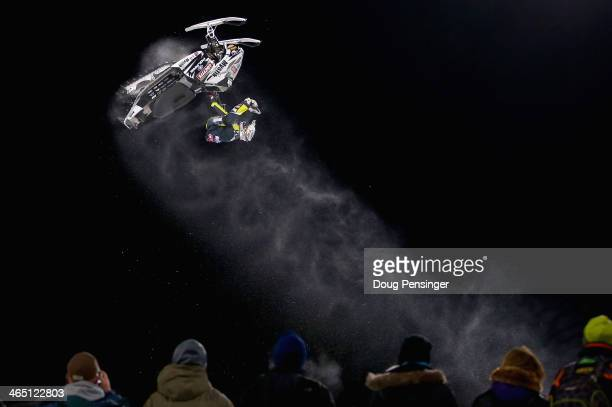 Jack Rowe comptetes in the snowmobile freestyle finals at Winter XGames 2014 Aspen at Buttermilk Mountain on January 23 2014 in Aspen Colorado