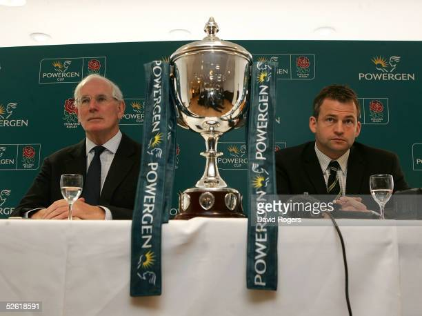 Jack Rowell the Bath Director of Rugby with Jon Callard the Leeds first team coach pictured to preview Saturday's Powergen Cup final on April 12 2005...