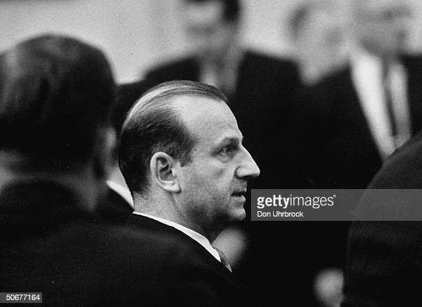 Jack Ruby hearing the verdict of guilty at the Dallas trial