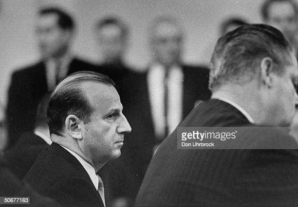 Jack Ruby listening to the verdict in the Dallas courtroom