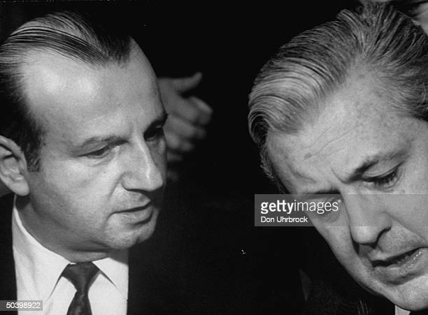 Jack Ruby with defense attorney Melvin M Belli at pretrial hearing