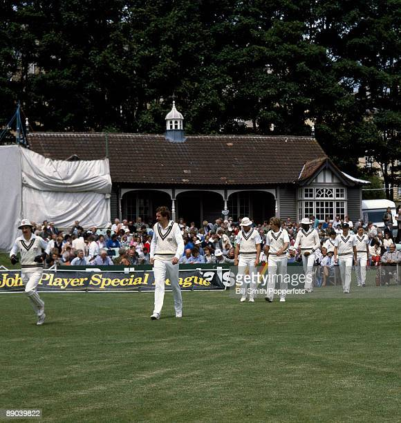 Jack Russell and David Graveney leading Gloucestershire onto the field prior to their John Player League match against Somerset at the County Ground...