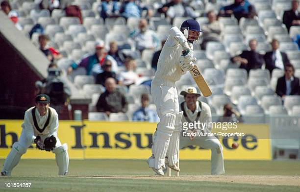 Jack Russell batting for England during his marathon 128 not out in 351 minutes during the second innings on the fifth day of the 4th Test match...