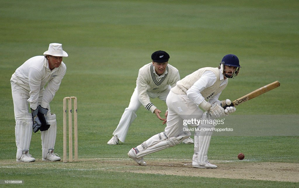 Jack Russell batting for England on the fourth day of the 1st Test Match between England and New Zealand at Trent Bridge in Nottingham, 11th June 1990. The New Zealand wicketkeeper is Ian Smith. The match ended in a draw.