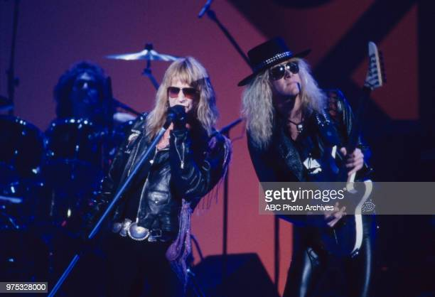 Jack Russell Mark Kendall of Great White performing on the 17th Annual American Music Awards Shrine Auditorium January 22 1990
