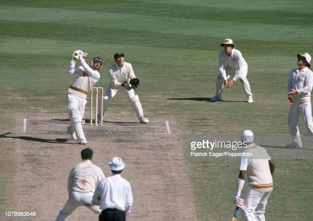 Jack Russell of England hits out only to be caught by Dean Jones of Australia off the bowling of Greg Matthews for 1 run in the 2nd Test match...