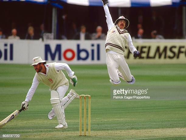 Jack Russell of Gloucestershire leaps to catch the ball as Allan Border of Essex makes his ground during the Benson and Hedges Cup group match...
