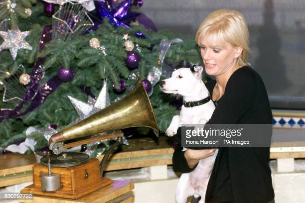 Jack Russell terrier Meg with her owner Lisa Davies after the dog was chosen as the new mascot for the HMV chain on ITV's This Morning The music...