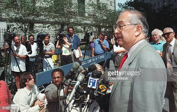 Jack Sacks lawyer for Mohamed Sadeek Odeh the second suspect in the 07 August bombing of the US Embassy in Nairobi Kenya speaks to the media after...