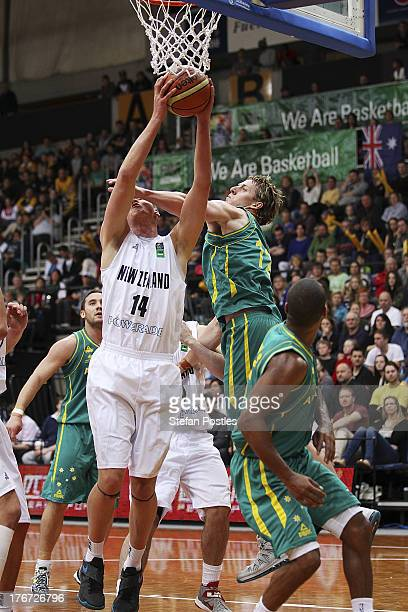 Jack Salt of the Tall Blacks puts up a shot during the Men's FIBA Oceania Championship match between the Australian Boomers and the New Zealand Tall...