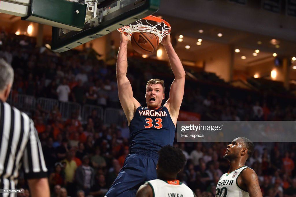 Jack Salt #33 of the Virginia Cavaliers dunks the basketball during the first half of the game against the Miami Hurricanes at The Watsco Center on February 13, 2018 in Miami, Florida.