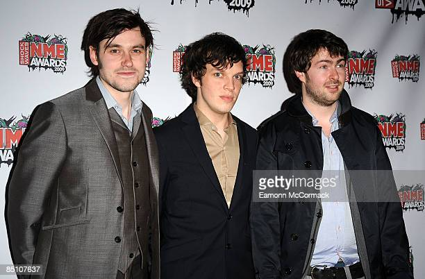 Jack Savage Ed McFarlane and Edd Gibso of The Friendly Fires attend the Shockwaves NME Awards at O2 Academy Brixton on February 25 2009 in London...