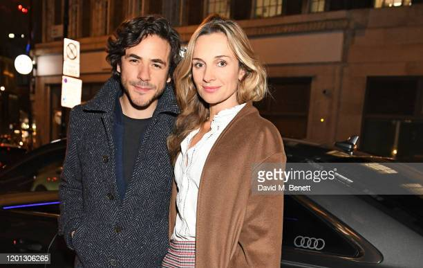 Jack Savoretti and Jemma Powell arrive in an Audi at the Vanity Fair EE BAFTA Rising Star Party at The Standard on January 22 2020 in London England