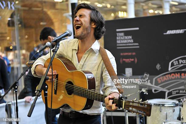 Jack Savoretti of Jack Savoretti The Dirty Romantics performs for The Station Sessions Festival 2012 at St Pancras International Station on April 16...