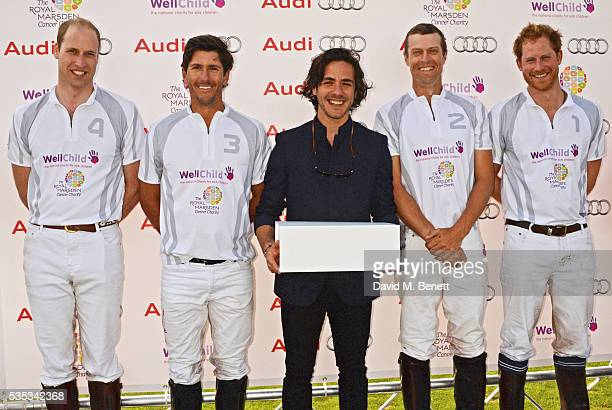 Jack Savoretti poses with Team Audi Ultra members Prince William Duke of Cambridge Nic Roldan James Harper and Prince Harry attend day two of the...