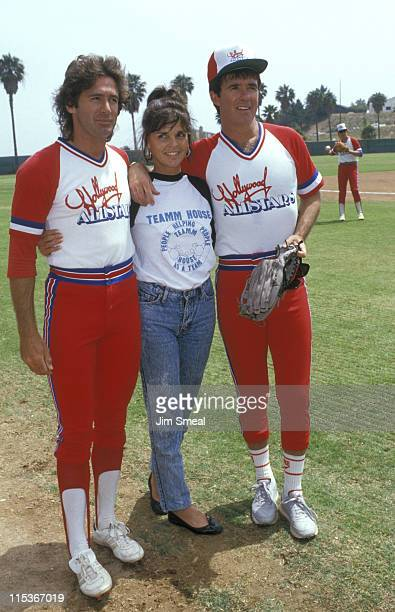 Jack Scalia Ali MacGraw and Alan Thicke during Hollywood All Star Softball Game at Pepperdine University in Los Angeles California United States