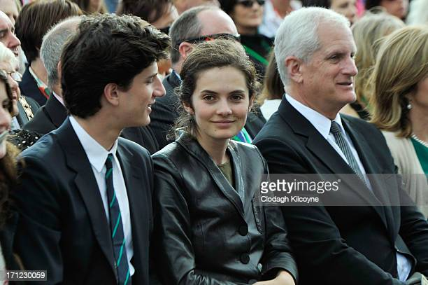 Jack Schlossberg and Rose Schlossberg attend a ceremony to commemorate the 50th anniversary of the visit by US President John F Kennedy on June 22...