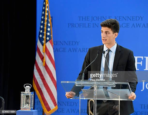 Jack Schlossberg speaks before presenting Connecticut Governor Dannel Malloy with the 2016 John F Kennedy Profile in Courage Award at The John F...