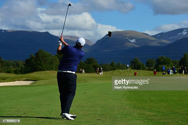 Jack Senior of England in action during the 2015 SSE Scottish Hydro Challenge at the MacDonald Spey Valley Championship Golf Course on June 28 2015...