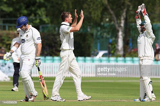 Jack Shantry of Worcestershire celebrates with Ben Scott after taking the wicket of Michael Yardy during day one of the LV County Championship first...
