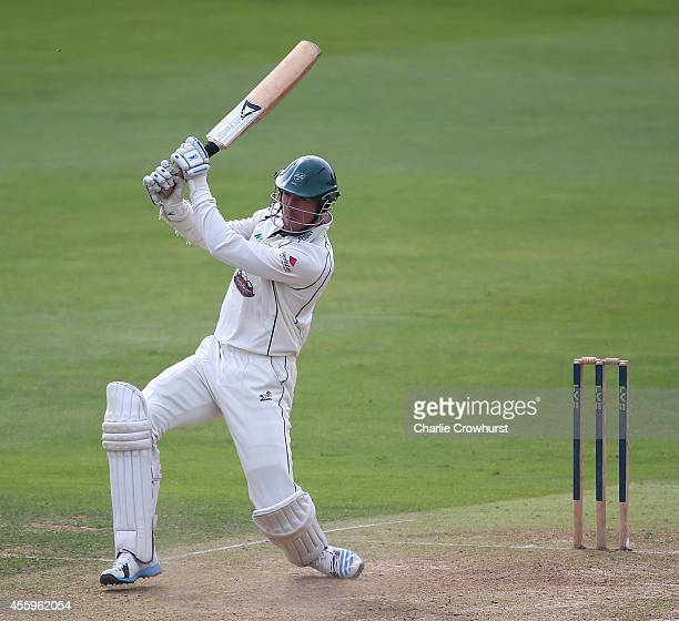 Jack Shantry of Worcestershire hits out during day one of the LV County Championship match between Essex and Worcestershire at The Ford County Ground...