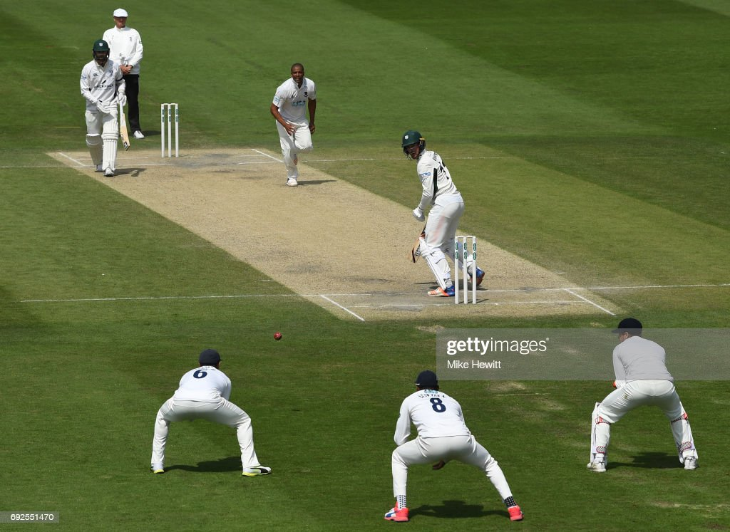 Jack Shantry of Worcestershire is caught at second slip by Harry Finch off the bowling of Vernon Philander to wrap up a Sussex victory during the fourth day of the Specsavers County Championship Division Two match between Sussex and Worcestershire at The 1st Central County Ground on June 5, 2017 in Hove, England.