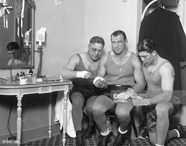"""Jack Sharkey turns actor...Jack Sharkey, leading contender for the heavyweight championship, being """"made up"""" by his training sparring partners in the..."""