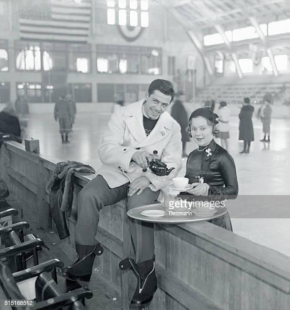 Jack Shea and Sonja Henie Drinking Tea at Lake Placid Winter Olympics