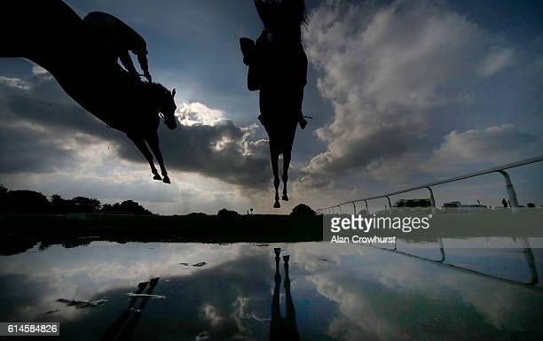 Jack Sherwood riding Present Man clear the water jump before winning The Harry Dufosee Challenge Cup Handicap Steeple Chase at Wincanton Racecourse...