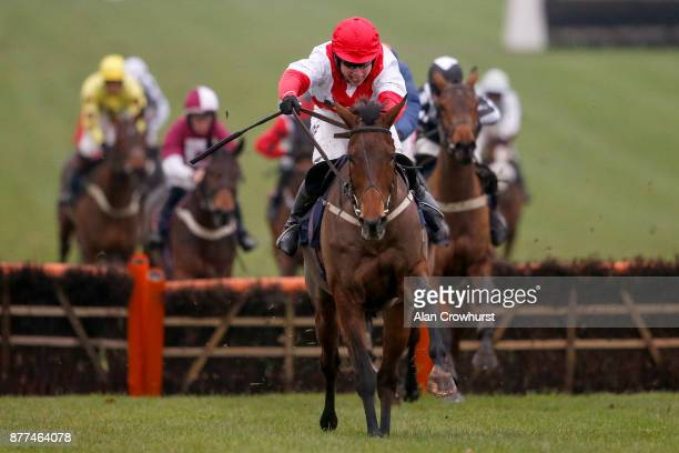 Jack Sherwood riding Shroughmore Lass clear the last to win The Spectra Cyber Security Solutions Maresâ Handicap Hurdle Race at Chepstow racecourse...