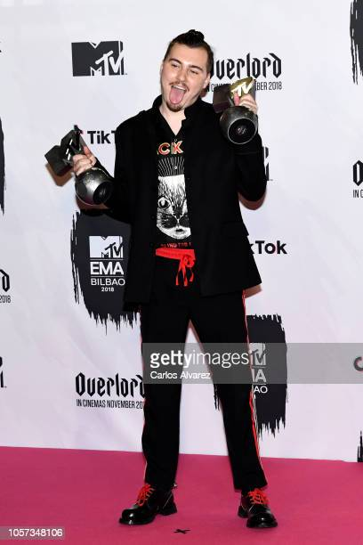 Jack Shirak poses in the Winners room during the MTV EMAs 2018 at Bilbao Exhibition Centre on November 4 2018 in Bilbao Spain