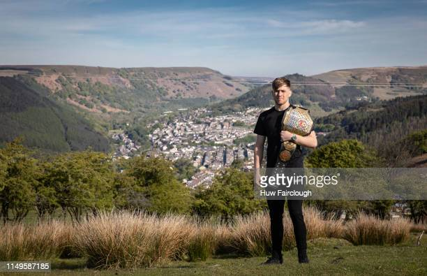 Jack Shore Cage Warriors Bantamweight Champion poses with his belt and his home town in the background on May 14 2019 In Abertillery Wales