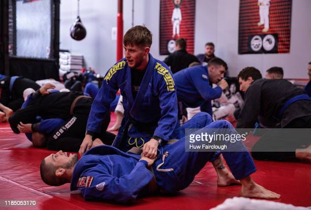 Jack Shore grapples with Josh Reed at the opening of Shore Mixed Martial Arts on November 2 2019 in Abertillery Wales