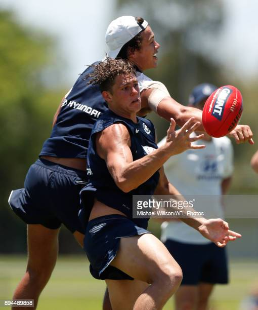 Jack Silvagni and Charlie Curnow of the Blues in action during the Carlton Blues AFL preseason training session at Maroochydore Multisport Complex on...