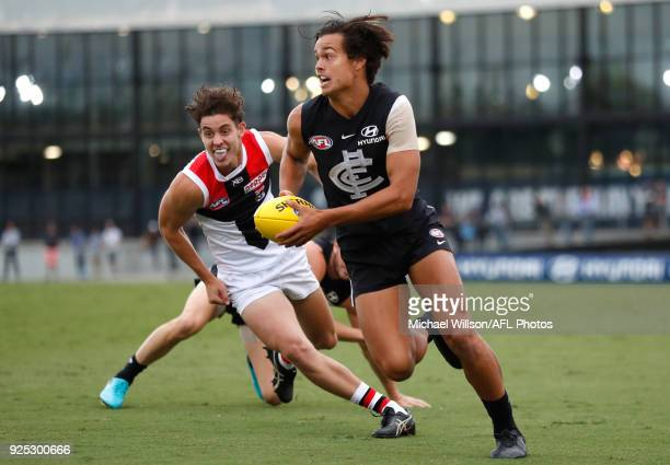 Jack Silvagni of the Blues in action during the AFL 2018 JLT Community Series match between the Carlton Blues and the St Kilda Saints at Ikon Park on...
