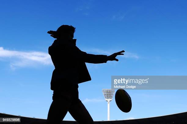 Jack Silvagni of the Blues kicks the ball before warm up during the round five AFL match between the Carlton Blues and the West Coast Eagles at...