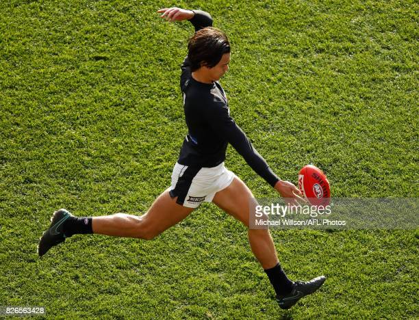 Jack Silvagni of the Blues kicks the ball during the 2017 AFL round 20 match between the Essendon Bombers and the Carlton Blues at the Melbourne...