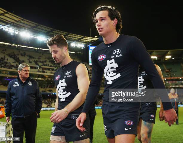 Jack Silvagni of the Blues looks dejected after defeat during the round 16 AFL match between the Carlton Blues and the Melbourne Demons at Melbourne...