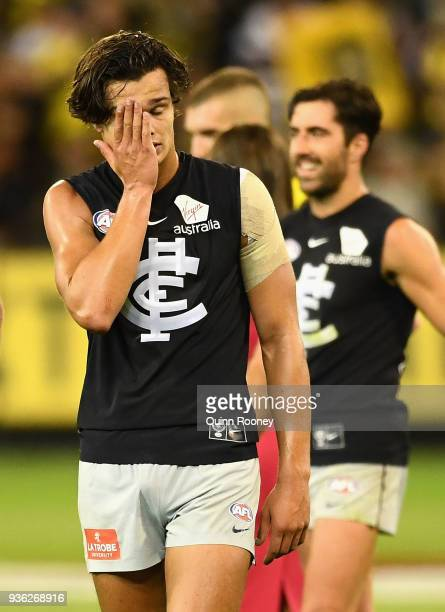 Jack Silvagni of the Blues looks dejected after losing the round one AFL match between the Richmond Tigers and the Carlton Blues at Melbourne Cricket...