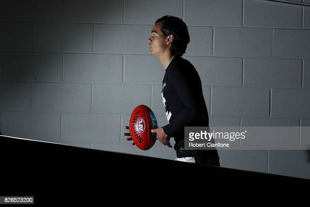 Jack Silvagni of the Blues walks out for the round 20 AFL match between the Essendon Bombers and the Carlton Blues at Melbourne Cricket Ground on...