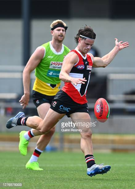 Jack Sinclair of the Saints kicks during a St Kilda Saints AFL training session at Maroochydore Multi Sport Complex on September 25 2020 in Sunshine...