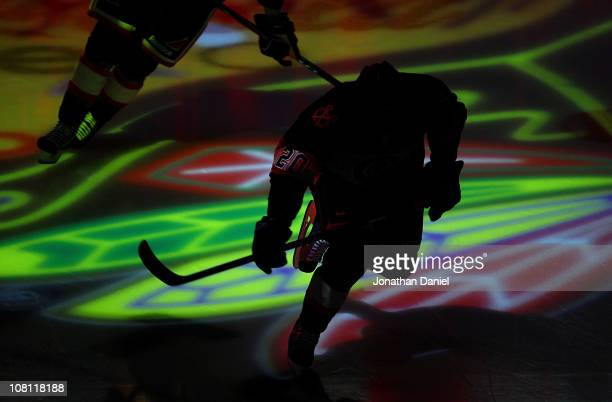 Jack Skille of the Chicago Blackhawks skates onto the ice before a game against the Colorado Avalanche at the United Center on January 12, 2011 in...