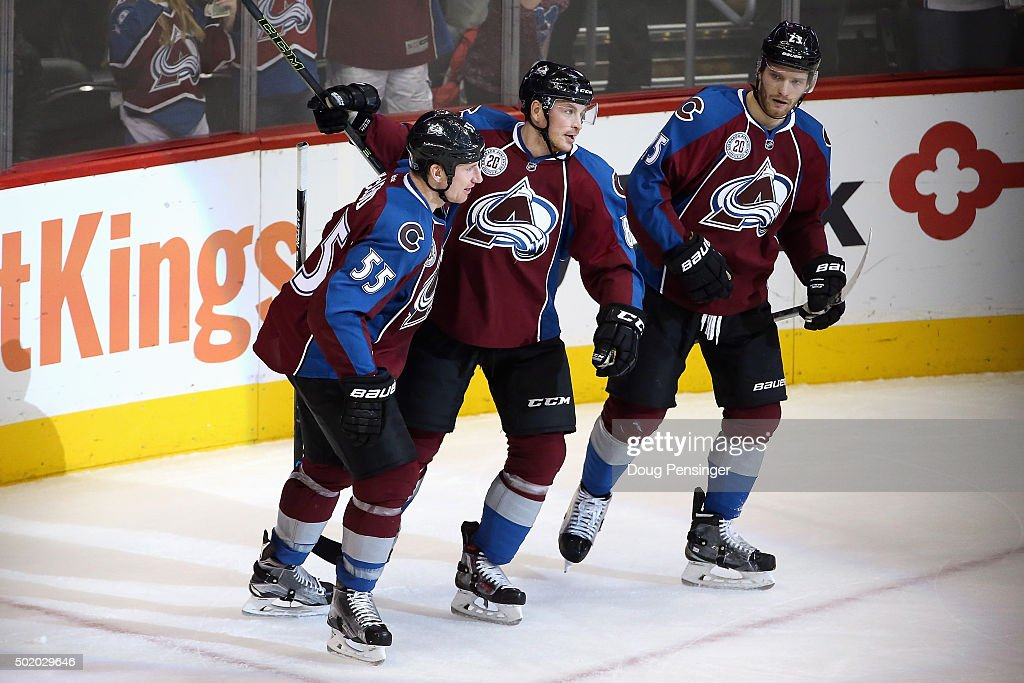 Jack Skille #8 of the Colorado Avalanche celebrates his goal against goalie Anders Nilsson #39 of the Edmonton Oilers with teammates Cody McLeod #55 and Mikhail Grigorenko #25 of the Colorado Avalanche to give the Avalanche a 5-1 lead in the third period at Pepsi Center on December 19, 2015 in Denver, Colorado. The Avalanche defeated the Oilers 5-1.