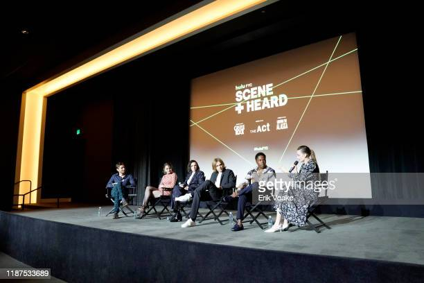 Jack Smart Joey King Elsie Fisher Charlie Plummer Denny Love and Kristine Froseth speak onstage at the 2019 Hulu Scene and Heard SAG Event at Pacific...